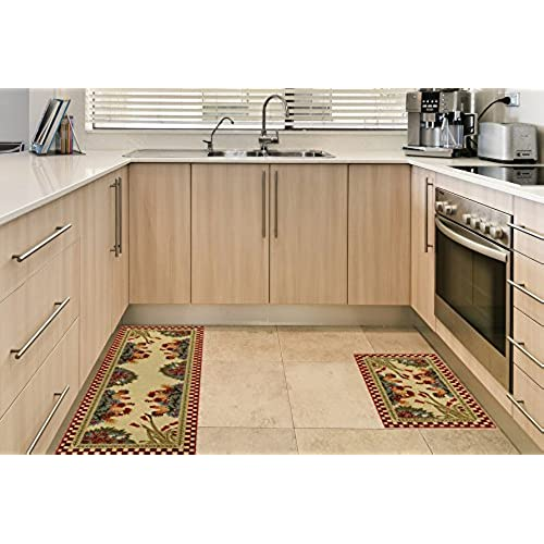 Anti Bacterial Rubber Back Home And KITCHEN RUGS Non Skid/Slip 2x5 |  Rooster Checkered | Decorative Kitchen Rug Runner Door Mats Low Profile  Modern Thin ...