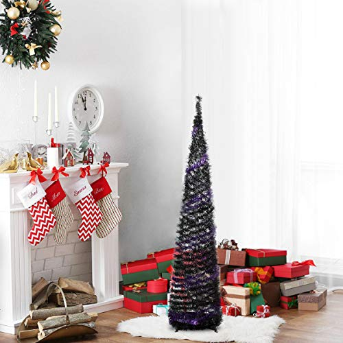 N&T NIETING 5ft Tinsel Halloween Christmas Tree, Slim Collapsible Pop Up Purple&Black Tinsel Tree for Halloween Decorations, Party Supplies, Holiday, Xmas Decor, Home Display, Office, Fireplace Indoor