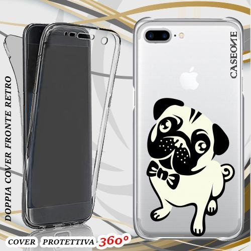 CUSTODIA COVER CASE BULLDOG PER IPHONE 7 PLUS FRONT BACK TRASPARENTE