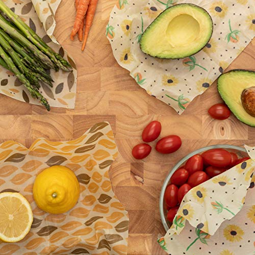 Beeswax Wraps by Myfoodware - Eco Friendly Reusable Food Wraps - Biodegradable & Organic Natural Wraps Create Great Seal Keeps Food Fresh - Recyclable & Sustainable 4 Pack Variety of Different Sizes!