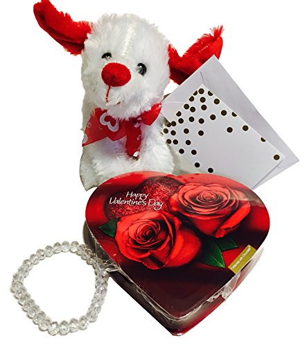 Valentine's Day Gift Sets Chocolate Heart Candy Plush Bear and Bracelet (Choose From 5 Options)