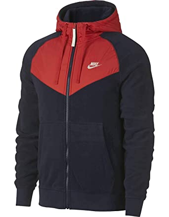 6f348ab60d28 Nike Men s Sportswear Full Zip Hoodie Obsidian Habanero Red Sail Size Small