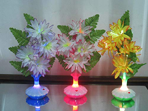 Yoozoe Fiber Optic LED Flower Centerpieces, Color Changing Light Up LED Table Centerpiece - Chrysanthemum - for Indoor, Outdoor, Garden, Patio and Party Decor(Set of 12)