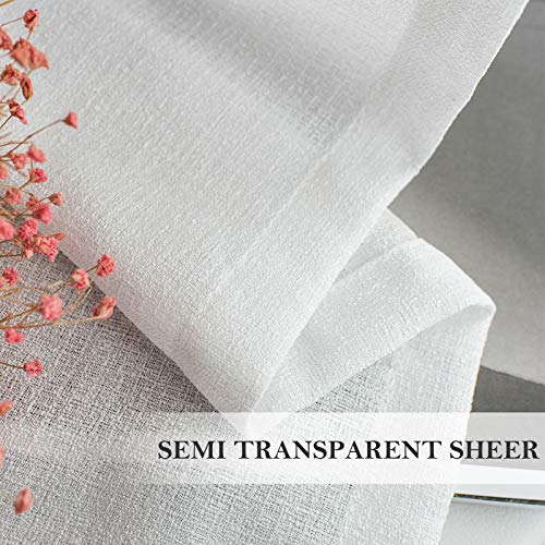 Melodieux White Semi Sheer Curtains 96 Inches Long for Living Room - Linen Look Bedroom Grommet Top Voile Drapes, 52 by 96 Inch (2 Panels)