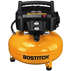 The Bostitch BTFP02012 6 Gallon 150 PSI Oil-Free Compressor is portable and lightweight. It features an oil-free, maintenance-free pump that delivers 2.6 SCFM* @ 90PSI and a maximum tank storage of 150 PSI for long tool run time with quick re...