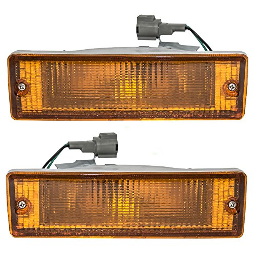 Driver and Passenger Park Signal Front Marker Lights Lamps Lenses Replacement for Nissan Pickup Truck SUV B613541G02 B613041G02