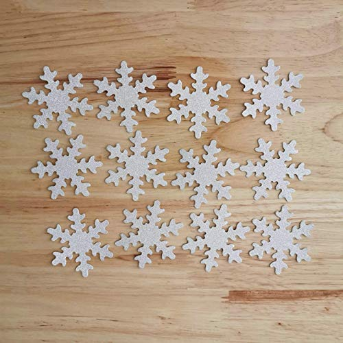 Snowflake Table Decorations - Double Sided Silver Glitter Decorative Frozen
