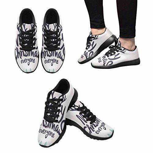 Interestprint Womens Jogging Running Sneaker Leggero Go Easy Walking Comfort Sport Scarpe Da Corsa Retro Vintage Merry Christmas Multi 1