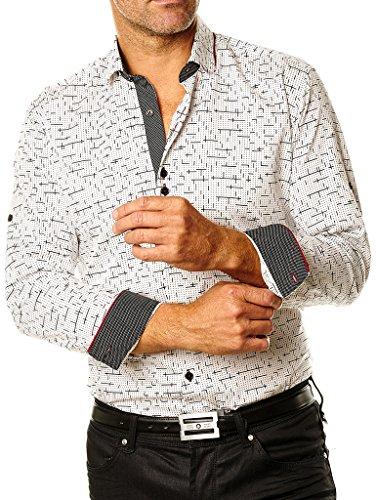 Maceoo Men's Designer White Dress Shirt - Class Black Tetris: Medium