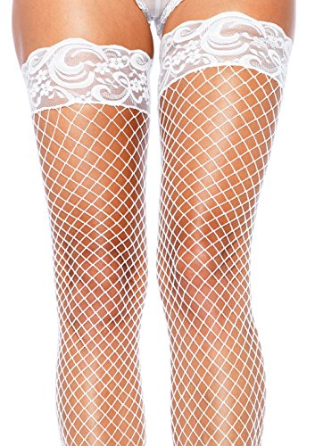 Leg Avenue Women's Fishnet Thigh High Stockings with Silicone Lace Top