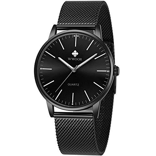 Mens Simple Slim Watch Analog Quartz Waterproof Black Stainless Steel Mesh Band Thin Casual Dress Wrist Watches for Men