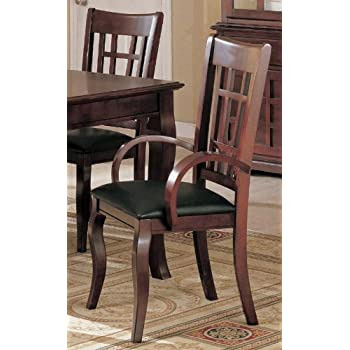 Amazon.com - Set of 2 Dining Arm Chairs Black Leather Like