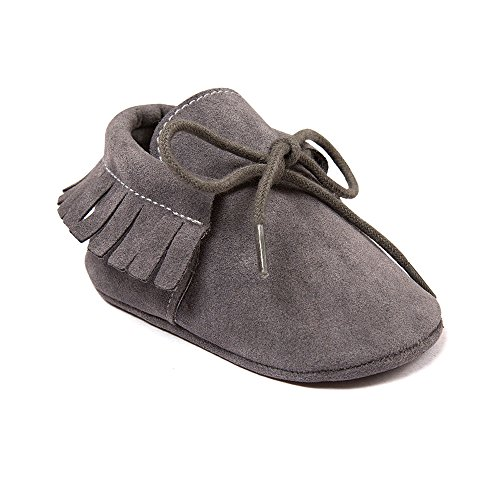 Image of OOSAKU Baby Boys Soft Bottom Lace Up Moccasins Crib Shoes