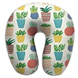 Cute Plant Pattern Cactus Fruits Travel Pillow U Shaped Pillow Memory Foam Washable Cover For Travel,Home,Neck Pain,Airplane,Car,Bus Or Camping