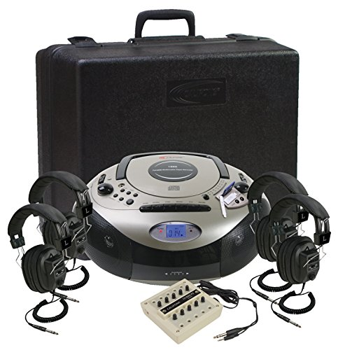 Califone 1886PLC 4-Person Spirit SD Stereo Listening Center, Includes 1886 Boombox Multimedia Player, Carry/Storage Case, One 10 position jackbox and Four 3068AV Headphones ()