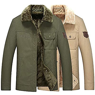 Pervobs Men Thicken Jacket Winter Long Sleeve Buttons-Down Coat Overcoat Outwear