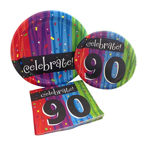 Celebrate 90 Happy Birthday Party Bundle with Paper Plates and Napkins for 8 (90th Birthday Napkins)