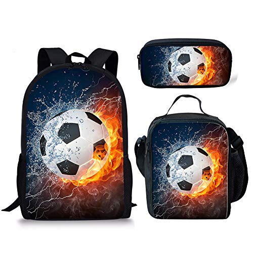 FANCOSAN Fire Water Soccer Mens Backpack Set with Lunch Bags Office Pencil Pouch Stationery 3 Pieces ()