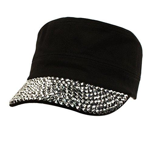 Cute Jewel Rhinestone Bling Bling Visor Cadet GI Castro Cap Hat Adjustable (Cadet Rhinestone Cap)