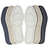 Bellcon Leather Insoles for Men Women Thin Full Length Shoe Pads with Odor Control Shoe Cushion Inserts for Unisex Adults (3 Pairs/Mens US 11-11.5)