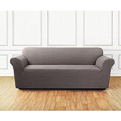 Sure Fit Stretch Sonya 1-Piece - Sofa Slipcover - Black/Gray