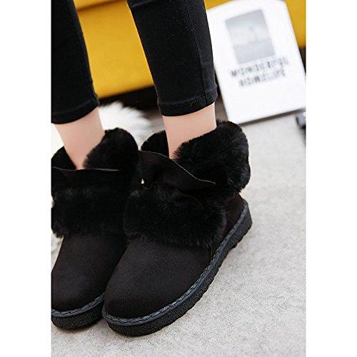 ZHZNVX HSXZ Zapatos de Mujer Otoño Invierno PU Confort Botas de Tacón Puntera Redonda Plana Mid-Calf Botas para Casual Negro Gris Verde,Negro,US8.5/UE39/UK6.5/CN40 39 EU
