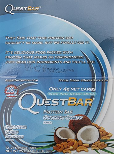 Quest Nutrition Protein Bar, Coconut Cashew, 2.12 Ounce (Pack of 12)