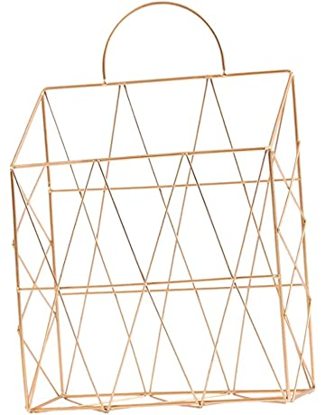 Simple Wrought Iron Tabletop Metal Newspaper And Debris Decoration Storage Basket Hangable Portable Rack Home Improvement