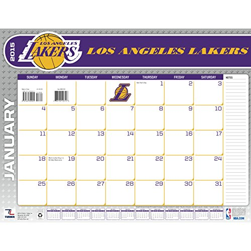 Turner Perfect Timing 2015 Los Angeles Lakers Desk Calendar, 22 x 17 Inches (8061434)