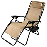 Cheap Sunnydaze Khaki Oversized Zero Gravity Lounge Chair with Pillow and Cup Holder
