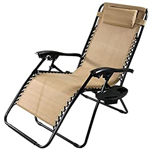 Sunnydaze Outdoor XL Zero Gravity Lounge Chair with Pillow and Cup Holder, Folding Patio Lawn Recliner, Khaki