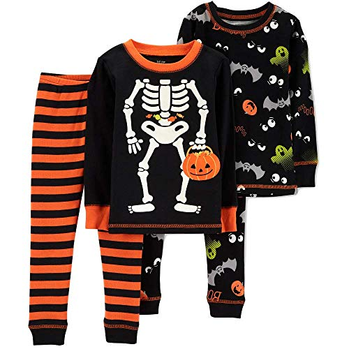 Boys Skeleton Pyjamas (Carter's Baby Boys' 4pc Skeleton Pajama Set - Just One You Made Black)