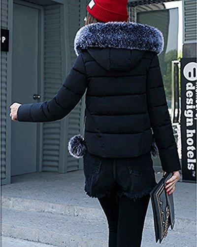 Collare Cotone Donne Delle Giacca Sottile Corta Grandi Giubbotto Dimensioni Di Grande Nero Imbottito q77xfw