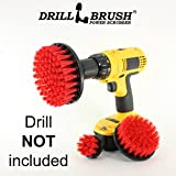 New Quick Change Shaft Stiff Bristle Nylon Round Scrub Brush Cordless Drill Powered 3 Brush Kit by Drillbrush