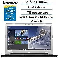 Lenovo IdeaPad 500 15.6 Full HD Notebook Computer, Intel Core i7-6500U 2.5GHz, 8GB RAM, AMD Radeon R7 M360, 1TB HDD, Intel 3D RealSense Camera, Windows 10