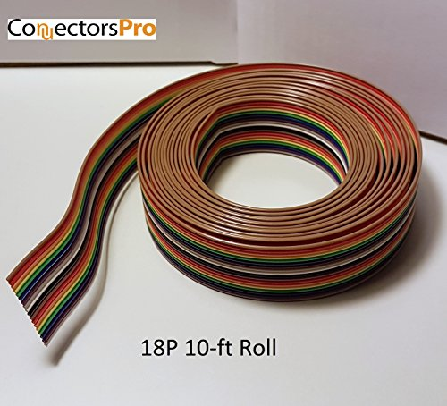 18c Cables (Pc Accessories - Connectors Pro 10 Feet 18P 1.27mm Rainbow Color IDC Flat Ribbon Cable 18 Conductors for 2.54mm Connector, 10' Roll)