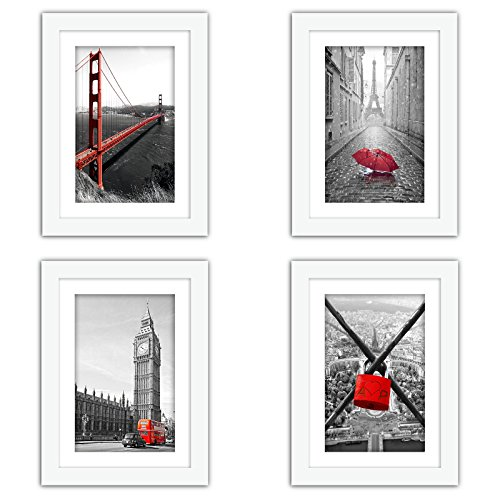 4x5 Mat - XUFLY 4Pcs 5x7 Real Glass Wood Frame White, with Mat Fit 4x6 inch Family Photo, Desktop On Wall Vertical Horizontal Office Decoration London Red Bus Moon Eclipse Sea Sky Jetty (10 Set Pictures) (1)