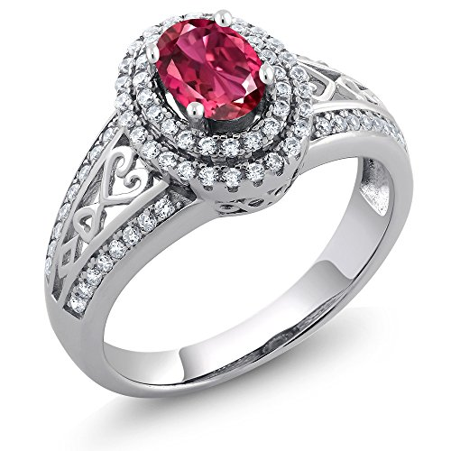 Pink Tourmaline Ring - 1.24 Ct Oval Pink Tourmaline 925 Sterling Silver Women's Ring (Ring Size 6)