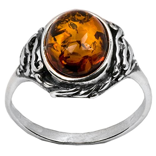 Sterling Silver Amber Classic Oval Ring