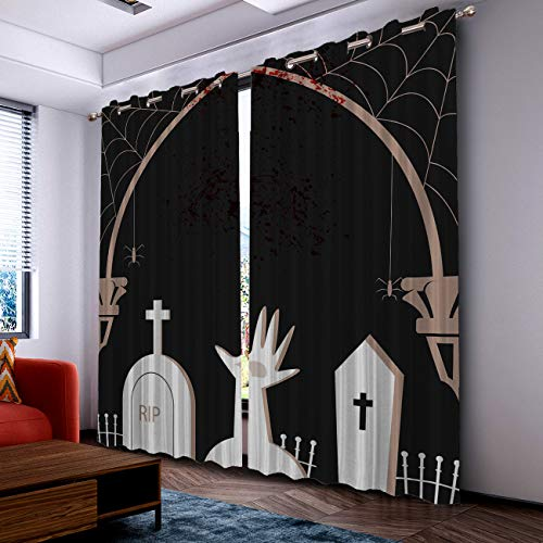 Prime Leader Curtains for Living Room- Darkening Thermal Insulated Window Treatment Curtains, with Grommet Home Decor Halloween Hand Tomb (2 Panels, 52 x 90 Inch Each Panel) ()