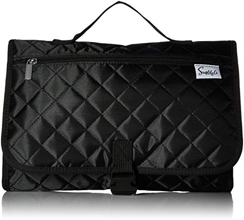 (Simplily Co. Hanging Stackable Travel Toiletry Make-up Undergarments Tiddy Organizer Roll-up Bag (Black Quilted))