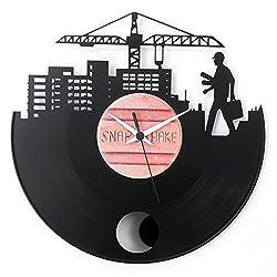 Architect Engineer bricklayer Gift Idea Graduation Design Vinyl Clock with pendulum Black color Vinyluse Original Made in Italy