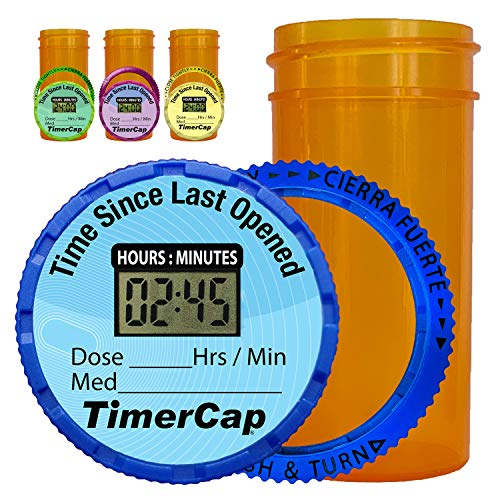 TimerCap Automatically Displays Time Since Last Opened - Built-in Stopwatch Smart Pill Bottle Cap Medication Reminder Case (Qty 4-1.8 oz Amber Bottles) EZ -Twist/CRC (Pills Bottle)