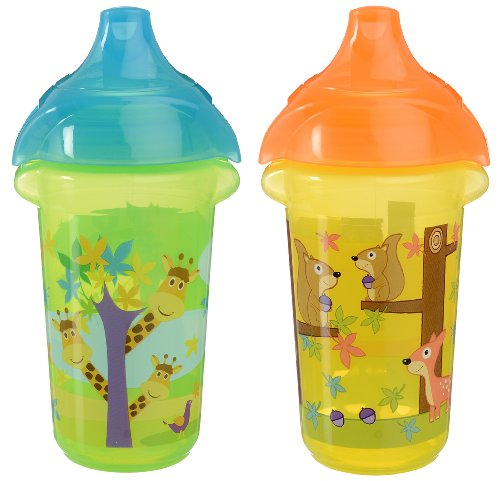 Munchkin Click Lock Sippy Cup, Giraffe/Forest, 9 Ounce, 2 Count (Munchkin Click Lock Replacement Spouts 2 Pack)