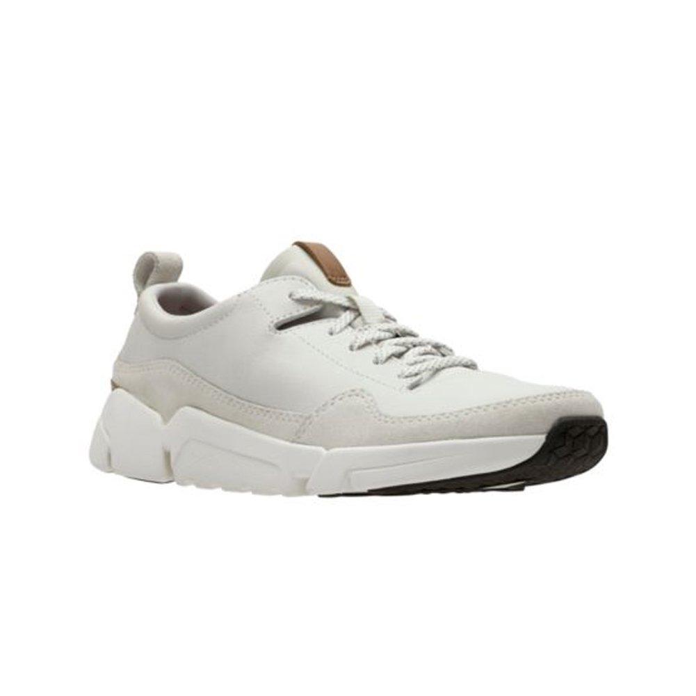 CLARKS Mens Tri Active Run Turnschuhe, Weiß Leather, Größe 10