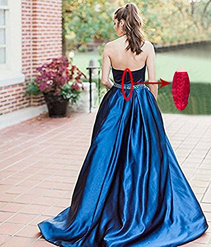 Beauty Bridal Women's Beaded Halter Neck Satin Prom Dresses With Pockets Sequined Evening Gowns Long J30 (20W,Royal Blue)