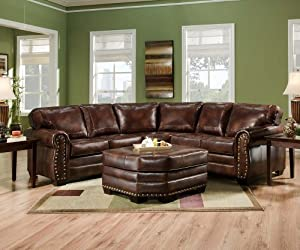 Amazon Com Simmons 9222dn Encore Brown Leather Sectional