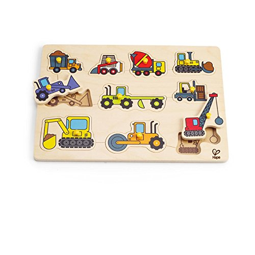 Hape Construction Site Kid's Wooden Toddler Peg Puzzle (Kids Puzzles With Knobs)
