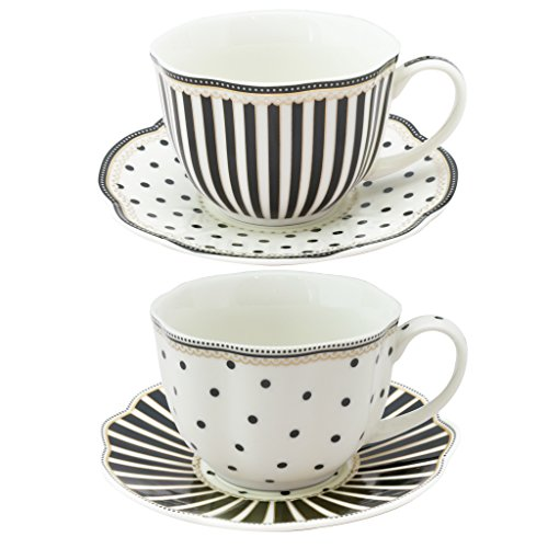 Grace Teaware Black Dot Stripes Scallop 9-Ounce Porcelain Tea/Coffee Cup and Saucer, Set of (Grace Stripe)