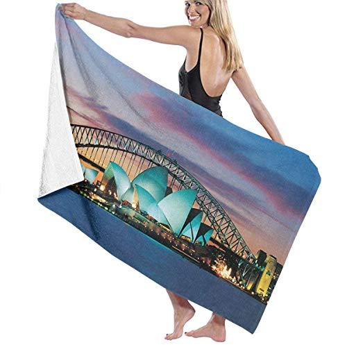 printbeauew 31 X 51 Inch High Absorbency Bath Towel Sydney Opera Australia Lightweight Large Bath Sheet Beach Home Spa Pool Gym Travel